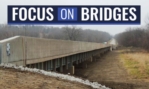 "Text, ""Focus on Bridges"" over an image of a Missouri Bridge"