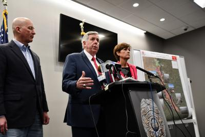 Governor Mike Parson,  Iowa Governor Kim Reynolds, and Nebraska Governor Pete Ricketts