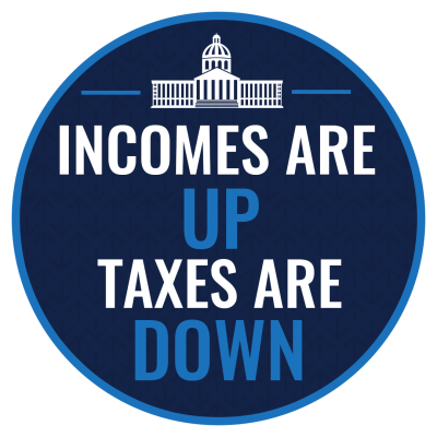 "Graphic that states ""Incomes are up, taxes are down"""