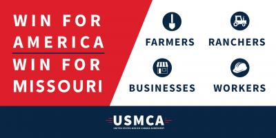 """Win for America"" ""Win for Missouri"" icons for farmers, ranchers, businesses, and workers"
